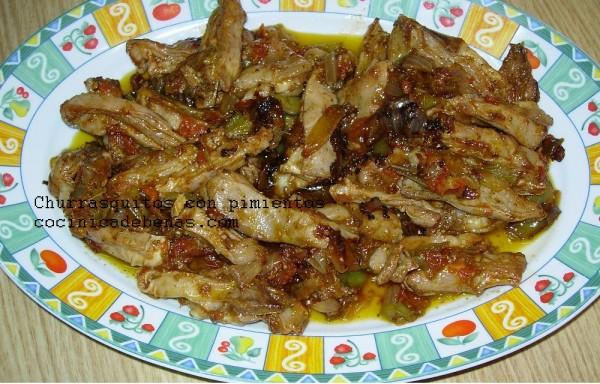 churrasquitos con pimientos